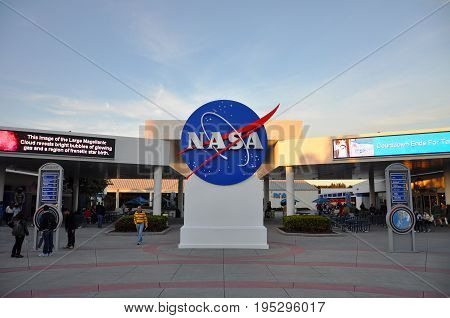 FLORIDA, USA - DEC 20, 2010: NASA sign in Kennedy Space Center Visitor Complex in Merritt Island, Florida, USA.