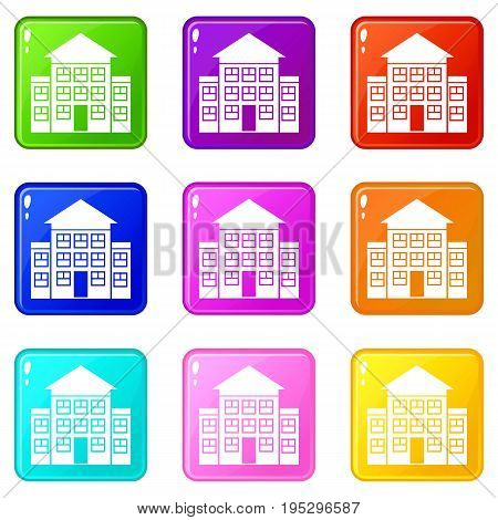 Bank building icons of 9 color set isolated vector illustration