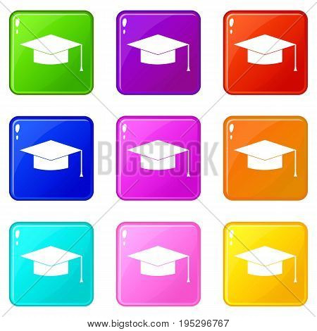 Graduation cap icons of 9 color set isolated vector illustration