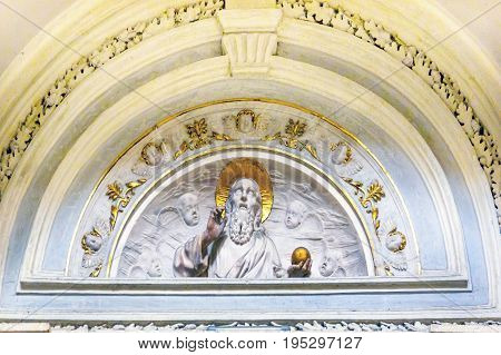 ROME, ITALY - JANUARY 18, 2017 White Gold God White Carving Santa Maria Della Pace Church Basilica Dome Rome Italy. Church built in 1400 and 1500s by Pope Sixtus IV on the spot where a painted Madonna was pierced and blood came out.