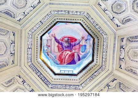 ROME, ITALY - JANUARY 18, 2017 God Painting Dome Santa Maria Della Pace Church Basilica Rome Italy. Church built in 1400 and 1500s by Pope Sixtus IV on the spot where a painted Madonna was pierced and blood came out.