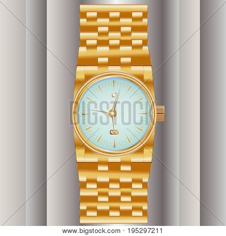 Dear, Prestigious Mechanical Men's Watch With A Gold Bracelet, Inlaid With Diamond, Showing The Exac