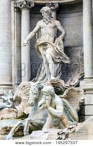 Neptune Nymphs Seahorses Statues Trevi Fountain Rome Italy. Nicola Salvi created the fountain and was constructed in 1762.