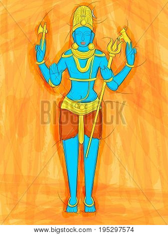 Vector design of Abstract Statue painting of Indian Lord Shiva sculpture