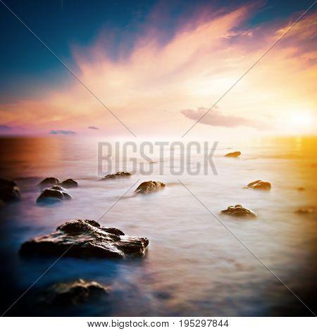 Sea beautiful sunrise. Long exposure shot outdoor landscape