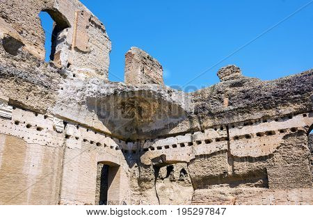 Baths of Caracalla ancient ruins of roman public thermae built by Emperor Caracalla in Rome Italy