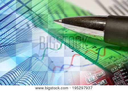 Business background with buildings graph and pen.