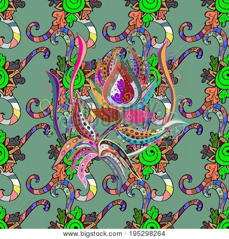 Vector cute pattern in small flower. Motley illustration. Spring floral background with blue flowers. Small colorful flowers. The elegant the template for fashion prints.
