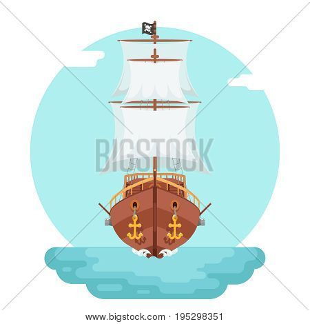 Front View Wooden pirate filibuster buccaneer corsair sea dog ship game icon isolated flat design vector illustration
