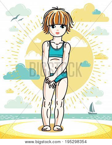 Little redhead girl cute child toddler standing on beach in colorful swimsuit. Vector pretty nice human illustration. Summertime and vacation theme.