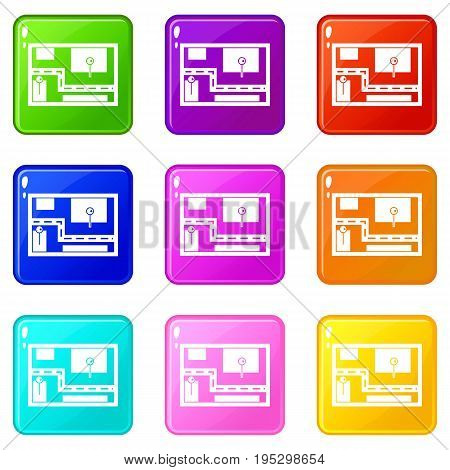 Navigator icons of 9 color set isolated vector illustration