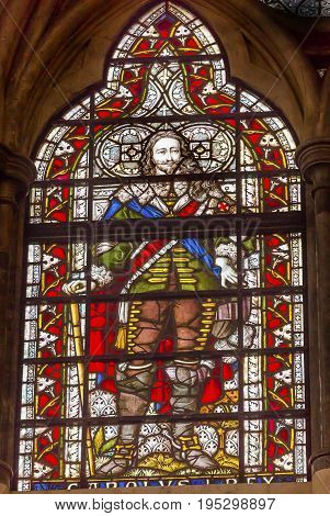 LONDON, ENGLAND - JANUARY 16, 2017 King Charles 1 Stained Glass 13th Century Chapter House Westminster Abbey Church London England. Westminister Abbey has been the burial place of Britain's monarchs since the 11th century and is the setting for many coron