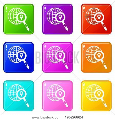 Globe, map pointer and magnifying glass icons of 9 color set isolated vector illustration