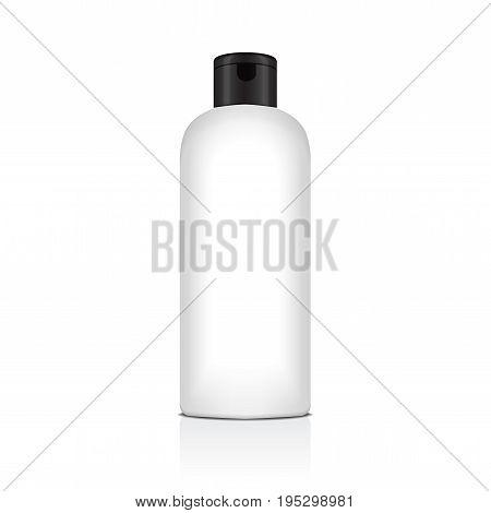 Blank vector plastic bottle for shampoo, lotion, shower gel, body milk, bath foam. Realistic mockup template for your design