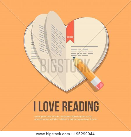 book in the shape of a heart, flat icon.