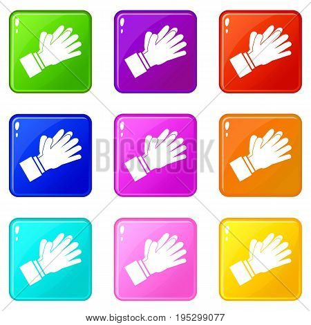 Clapping applauding hands icons of 9 color set isolated vector illustration