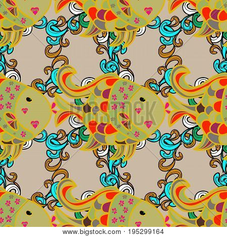 Seamless pattern with tropical fish. Reaver fishes on colored background. Exotic fish. Vector illustration.