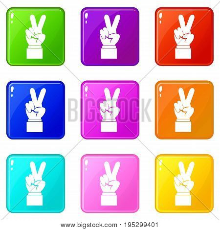 Hand with victory sign icons of 9 color set isolated vector illustration
