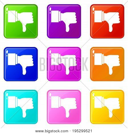Thumb down gesture icons of 9 color set isolated vector illustration