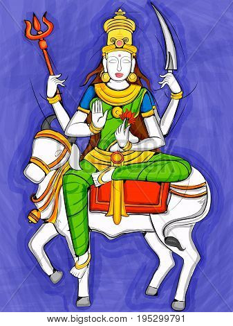 Vector design of Vintage statue of Indian Goddess Shailaputri sculpture one of avatar from Navadurga engraved on stone