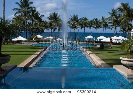 MAUI, HI - DECEMBER 15: View of The Grand Wailea, a Waldorf Astoria hotel, is one of several resorts in the exclusive Wailea area on the West shore of the Hawaiian island of Maui
