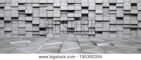 A wide futuristic metal room - 3D illustration