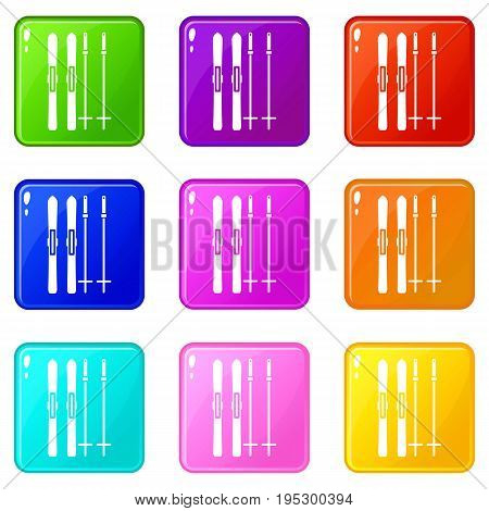 Skis and ski poles icons of 9 color set isolated vector illustration