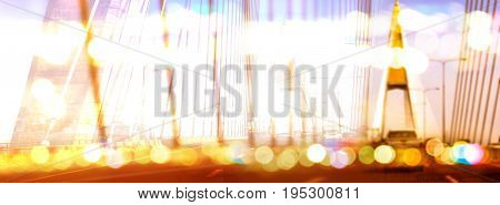 Background blur lanscape Rama VIII Bridge in Bangkok Thailand Photography bokeh in the evening.