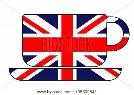 Cup of tea shape filled with british flag. Union Jack. White background