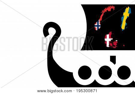 Illustration of Scandinavia. Vikings concept. Nordics countries. White background