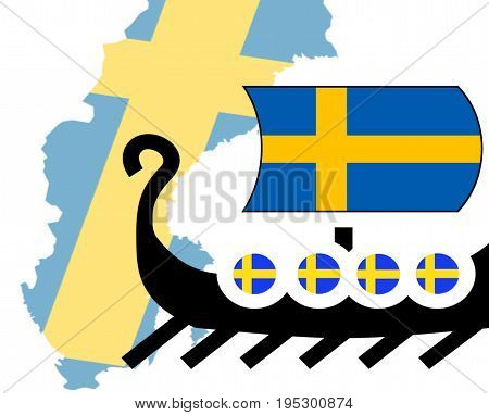 Vikings concept. Sweden. Nordic country. White background. Lonship