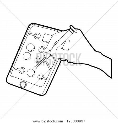 Gadget in reparation icon. Outline illustration of gadget in reparation vector icon for web design