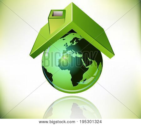 Roofing over the planet Earth, vector art illustration.