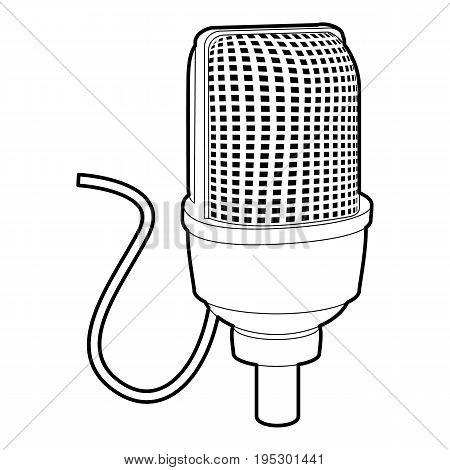 Retro microphone icon. Outline illustration of retro microphone vector icon for web design