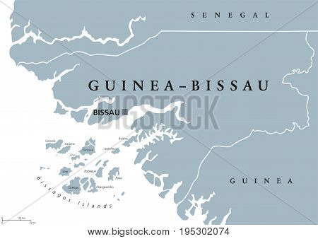 Guinea-Bissau political map with capital Bissau, international borders and neighbors. Republic and country in West Africa. Gray illustration isolated on white background. English labeling. Vector.