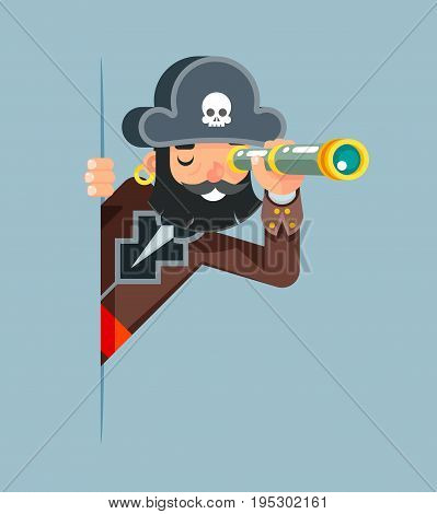 Pirate Buccaneer Filibuster Corsair Sea Dog Spyglass Telescope Spy Look Out Corner Idea Search Discovery Supervision Concept Cartoon Character Solution Flat Design Vector Illustration