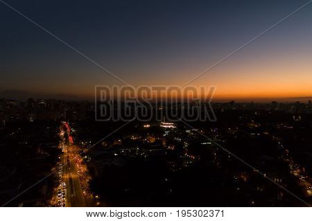 Wonderful sunset over Sao Paulo, Brazil