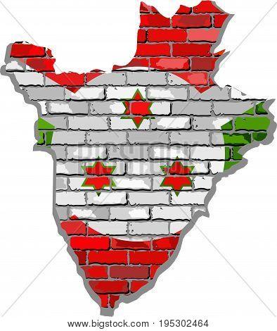 Burundi map on a brick wall - Illustration,   Burundi map with flag inside