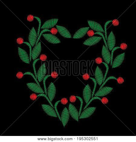 Embroidery stitches imitation floral frame with green leaf and red berry. Vector embroidery folk fashion ornament on black background.