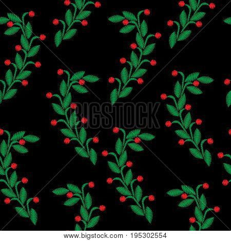 Embroidery stitches imitation seamless pattern with green leaf and red berry. Vector embroidery folk fashion ornament on black background.