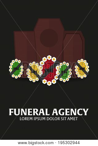 Funeral sevices and Funeral agency banner. Cemetery. Vector illustration