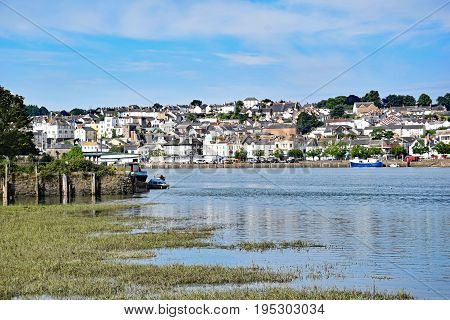 Bideford North Devon England 13th July 2017 - The quay and old bridge in the port of Bideford in North Devon England taken from the Tarka Trail looking west across the river Torridge