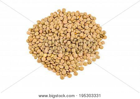 Pile of vetch seeds isolated on white background.
