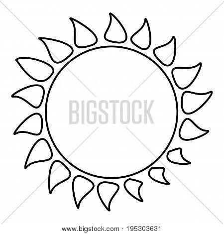 Hot sun icon. Outline illustration of hot sun icon for web design
