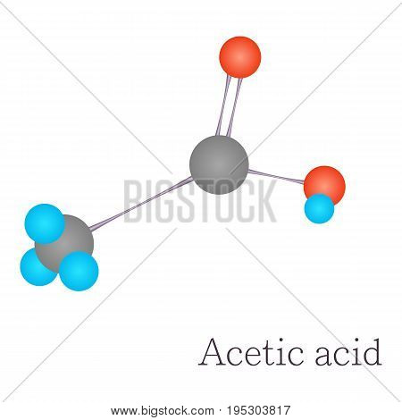 Acetic acid 3D molecule. Cartoon illustration of acetic acid 3D molecule vector for web design