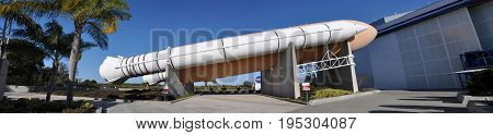 FLORIDA, USA - DEC 20, 2010: Space Shuttle Rockets, a life-size replica at Kennedy Space Center in Cape Canaveral, Florida, USA.