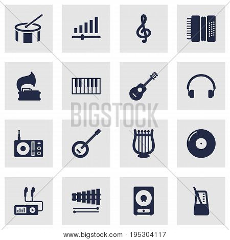 Set Of 16 Melody Icons Set.Collection Of Turntable, Audio Device, Rhythm Motion And Other Elements.
