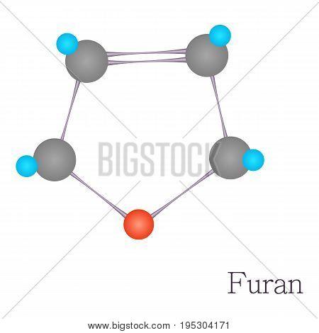 Furan 3D molecule. Cartoon illustration of furan 3D molecule vector for web design