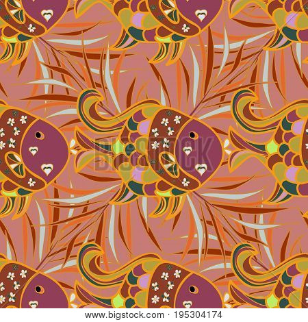 On colored background with flowers. Abstract textile seamless pattern with rever fishes Vector illustration.