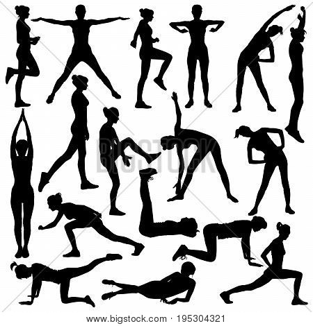 Collection of vector silhouette of slim girl doing warm-up.
